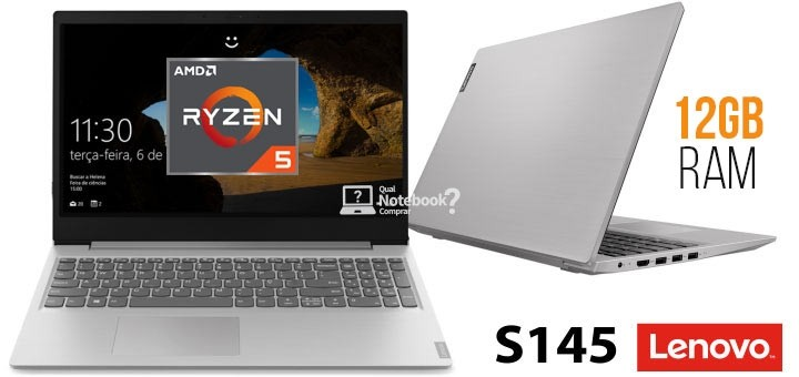 Notebook Lenovo Ideapad S145, Ryzen 5 3500U 12GB RAM, 1TB, Tela HD 15.6'', Windows 10, 81V70001BR