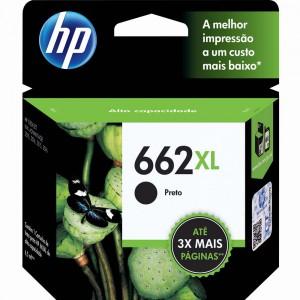 Cartucho de Tinta HP 662 XL Preto CZ105AB